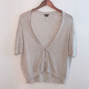 Theory Short Sleeve Cardigan | Zip Up | XS | Gray